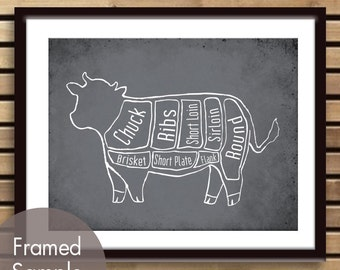 Beef Butcher Diagram of a Cow - Art Print (featured in Charcoal) (Buy 3 and get One Free)