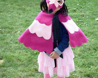 Handmade flamingo mask, cape, mask/cape set