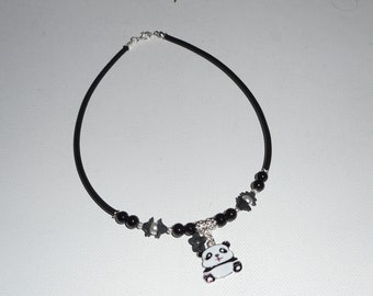 Necklace kids panda in enamel with black glass beads and white flowers on black buna cord