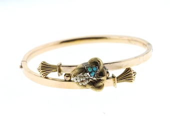 Victorian Yellow Gold Bracelet, Antique Hinged Gold Bangle, Turquoise & Pearl Rose Gold Bracelet