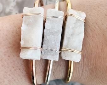 Drusy Quartz Agate Slice Gemstone Bangle Bracelet Handmade by Rana Salame in Indiana Crystal Bracelet Rose Gold Wire Wrapped Quartz  Cuff