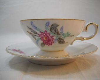 Royal Sealy China TeaCup and Saucer Pink Dahlia Made In Japan Free Shipping