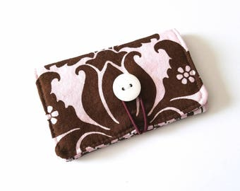 Pink and Brown Damask and Stripe Business Card holder