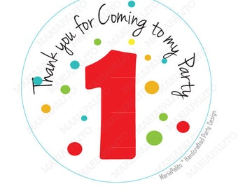 Polka dot Stickers, Colorful AGE Personalized Birthday Party PRINTED round Stickers, tags, Labels or Envelope Seals A816
