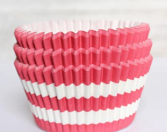 Red Striped cupcake liners set of 25-cupcake liners,  stay bright red striped cupcake wrappers, christmas cupcake liners