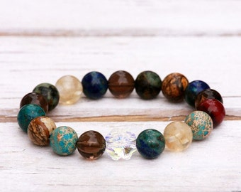 Bracelet with Swarovski® Crystal clover and a beautiful collection of natural stones, Stretch Bracelet, Unique Jewelry