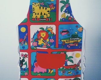 SALE Vintage Crayola Kids Apron Cooking Baking Animal Print Crayons Tiger Lion Zoo 80s 90s Toys Nostalgia Craft Kids Clothes Sandylion