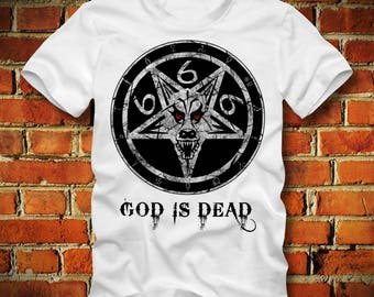 BOARDRIPPAZ Church Of Satan T SHIRT God Is Dead Pentagram 666 The Number Of The Beast Devil Lucifer Gothic Church Of Satan Shirt 666 Shirt