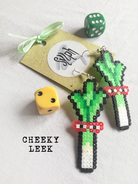 Geeky Cheeky Leek pixel earrings for gamer girls with a flare for veggies made of Hama Mini Perler Beads