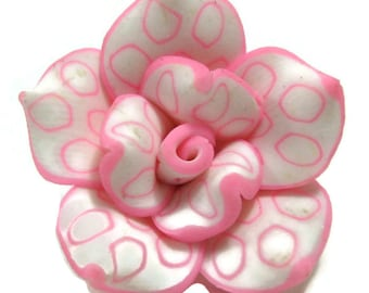 25mm Polymer Clay Rose Beads Set of Three (R02)