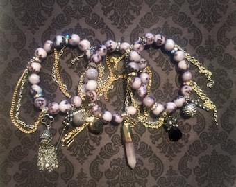 Snakeskin, Gold & Silver Quartz/Angel/Tassel Bracelet Stack