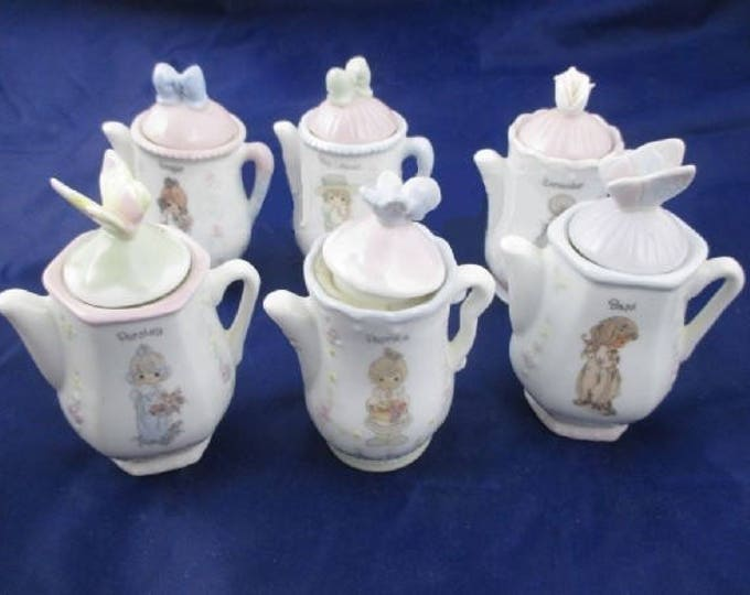 Shabby Chic Precious Moments by Enesco Six Mini Tea Pot Spice Containers, In Excellent Used Condition