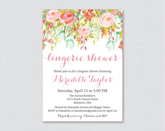 Pink Floral Lingerie Shower Invitation Printable or Printed - Pink Flower Garden Lingerie Shower, Pink Gold Bachelorette Party Invite 0004