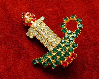 Vintage Rhinestone Red Green Gold Christmas Candle Brooch Pin