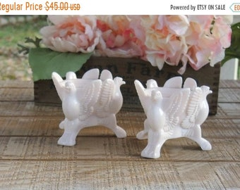 ON SALE Pink Milk Glass Candle Holders Set of 2 Jeanette Bird, Taper Candles, Mid Century Cottage Style, Wedding, Beach Cottage Style