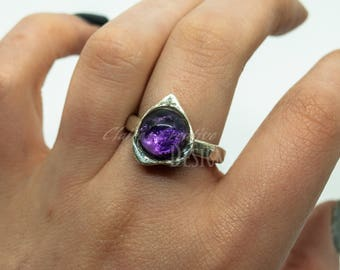 Amethys Ring/ Silver Amethyst Ring/ Ouija Ring/ Ouija Jewelry/ Gothic Ring/Planchette Ring/ Fine SIlver Ring/ Halloween Ring