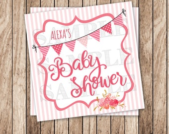 Printable Baby Shower Tags, Personalized Printable Bunting Tags, Pink Baby Shower Bunting Tags, Girl Baby Shower Tags