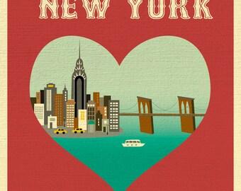 SALE New York City 8x10 Print, New York City Heart Print,  New York Nursery, nyc wall art heart, Loose Petals  City Art Print style E8-O-NY6