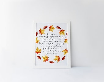 i can smell autumn dancing in the breeze printable · autumn quote · fall decor · autumn art print · fall foliage · fall quote · fall leaves