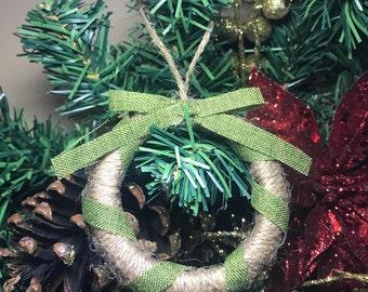 Rustic Mason Jar Rim Christmas Tree Wreath Ornament