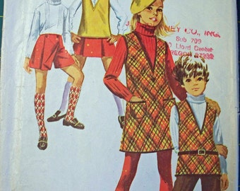 Vintage Simplicity pattern Girls size 7 Jumper, Tunic, Bell Bottom pants & Mini pantskirt 1969-FREE SHIPPING PATTERNS when you buy 3 or more