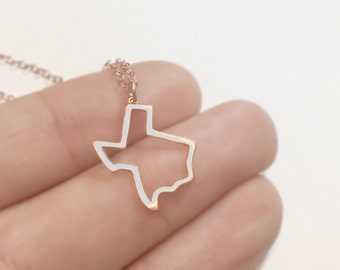 Rose Gold Texas Necklace | State Charm Necklace | Texas Jewelry