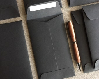 "25 Black Envelopes - Size 6 1/2"" x  3 3/4"" - 100% Recycled"
