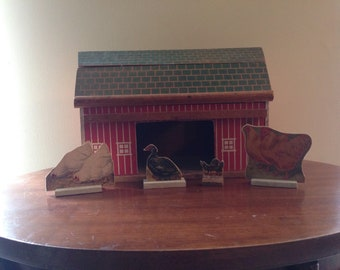 Antique Wooden Toy Barn with Chickens - Farmhouse Decor - Vintage Toys