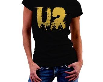 U2 Rock Band Poster Black Woman Printed T-shirt