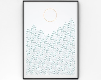 Cloud Forest A2 limited edition screen print, hand-printed in green and orange
