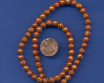 "16"" Strand 6mm Fossil Beads:  Brown"