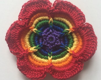 Rainbow Flower Crochet Applique