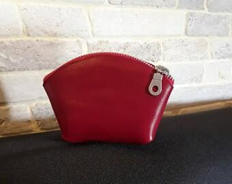 Porte monnaie en cuir véritable rouge vif. Cadeau à petit prix pour femme ou jeune fille