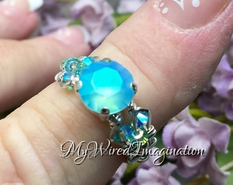 Light Turquoise, Frosted Glacier Blue, Genuine Swarovski Crystal, Handmade Wire Wrapped Crystal Ring, Bright Ocean Blue, Unique Engagement