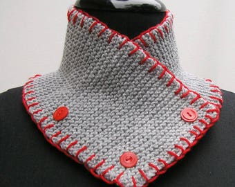 Gray scarf, gray neck warmer, grey neckwarmer, buttoned scarf, knitted cowl, neck wrap, grey scarf, red blanket stitch scarf, red scarf