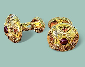 Gold Cuff-links with Red Garnet Handmade