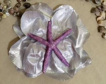 Mermaid Purple Starfish Silver Flower hair clip