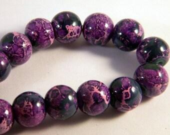 "10 glass beads 12 mm ""reality"" 2 tone purple pink CR4"
