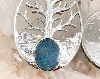 Gorgeous Opal Tree of Life Pendant Necklace