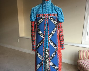 Wearable Art Reversible Handmade Long Dress 1970