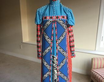 Wearable Art Reversible Handmade Long Dress 1970