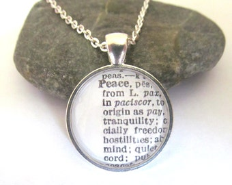 PEACE  Definition Necklace - Dictionary Necklace - Peace Necklace - Bronzed or Silver Plated