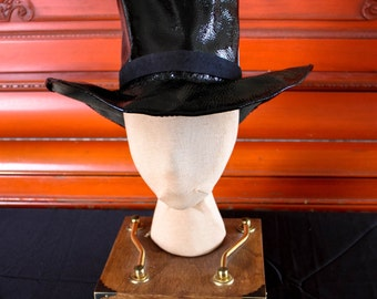 Black Patent Leather Mad Hatter Top Hat
