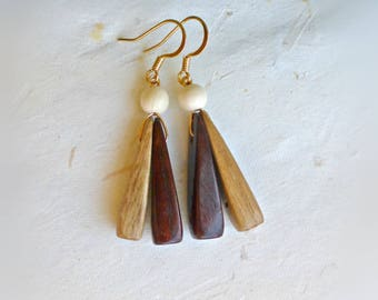 Triangle wooden earrings Simple wood earrings Dangle wood earrings Geometric jewellery  Handmade wood jewelry 5th anniversary gift for her