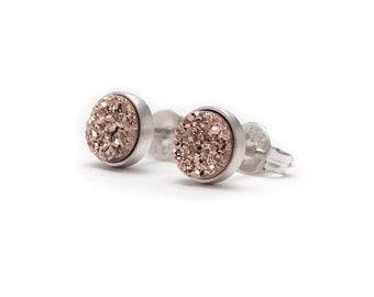 Rose Gold Druzy in Sterling Silver Stud Earrings - Druzy / Drusy Quartz Studs - Silver Stud Earrings - Round 6mm - Bezel Set