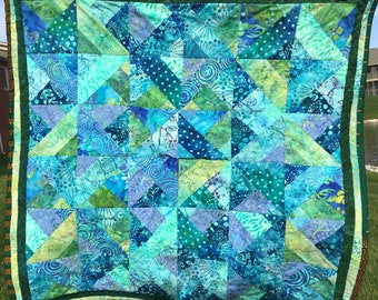 Teal Baby Quilt - Modern Baby Quilt - Handmade Quilt - Patchwork Quilt - Baby Shower Gift - Nursery Quilt - Toddler Quilt - Wall Hanging