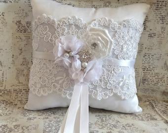 Ring Bearer Pillow, Lace Ring Bearer Pillow, Vintage Ring Pillow, Ring Pillow, Flower girl basket, Elegant Ring Pillow, Rustic Ring Pillow