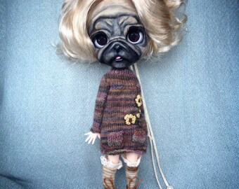 Little Pug Blythe Art Doll ( ADOPTED) Not for Sale
