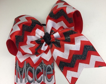 Any Name, Glitter Hair Bow, Boutique Bows, Chevron Cheer, Cheerleader ribbon, Bling Sparkly, Embroidered, Monogram Clips, Monogrammed Teen