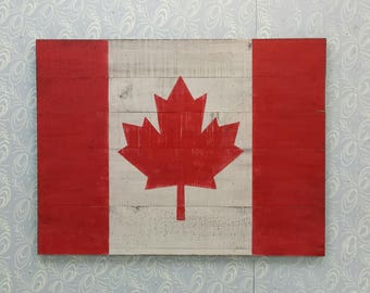 Huge Canadian Flag / Rustic Canadian Flag / Hand Painted On Wood